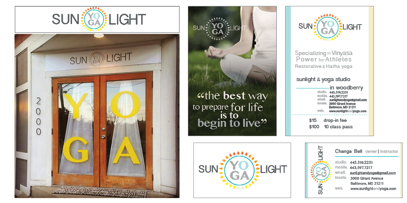 Sunlight Yoga design package with logo, banner, window decals, business cards and flyer cards