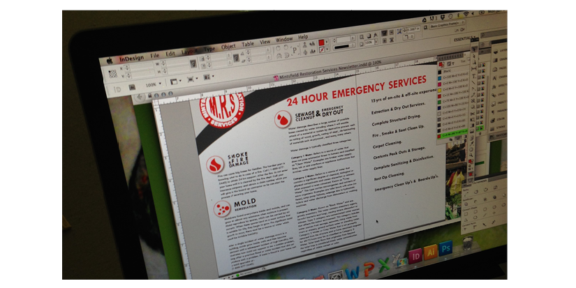 professional use of Adobe InDesign, Illustrator, Photoshop
